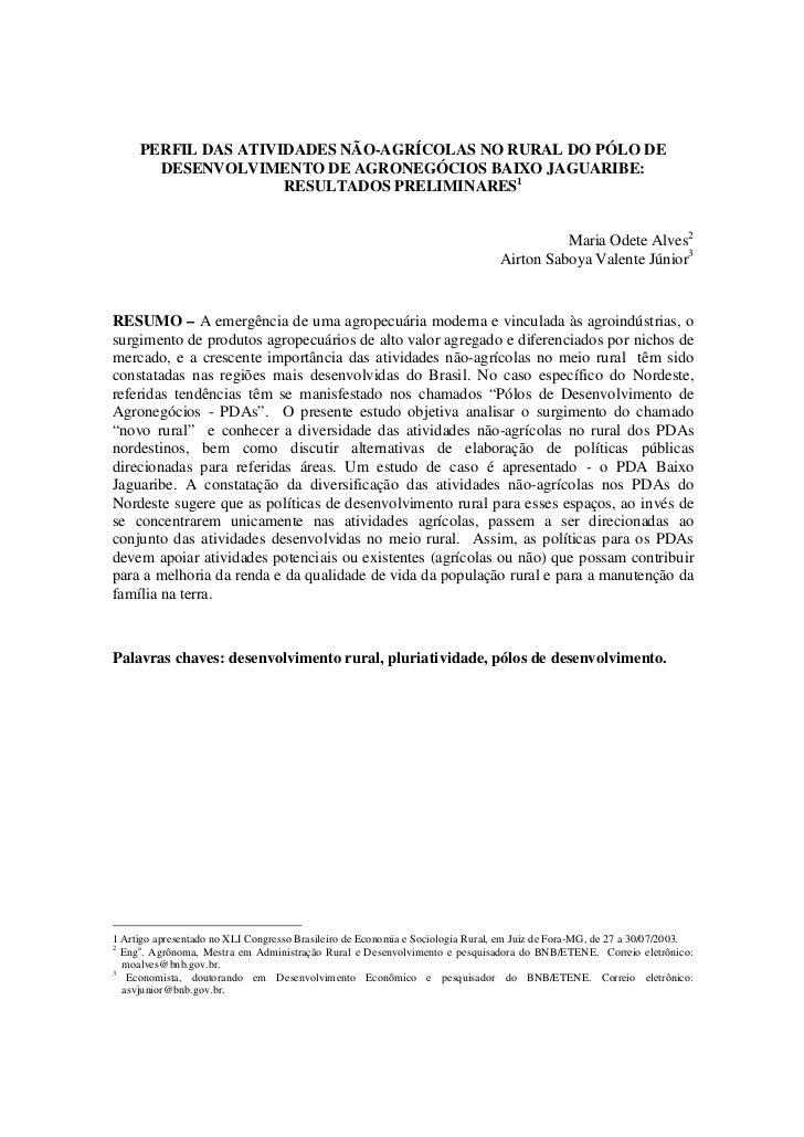 PERFIL DAS ATIVIDADES NÃO-AGRÍCOLAS NO RURAL DO PÓLO DE       DESENVOLVIMENTO DE AGRONEGÓCIOS BAIXO JAGUARIBE:            ...