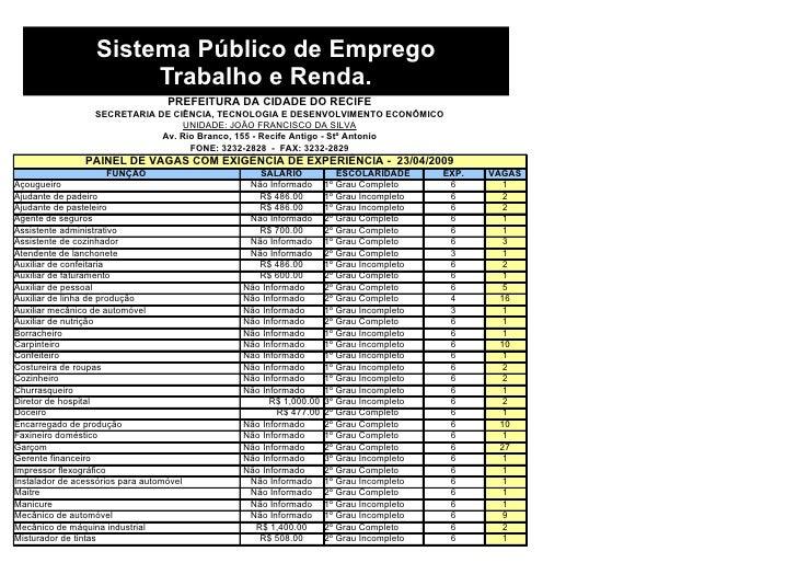 Sistema Público de Emprego                         Trabalho e Renda.                                    PREFEITURA DA CIDA...