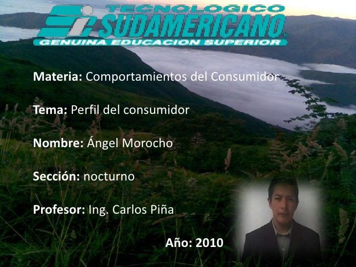 Materia: Comportamientos del Consumidor<br />Tema: Perfil del consumidor<br />Nombre: Ángel Morocho<br />Sección: nocturno...