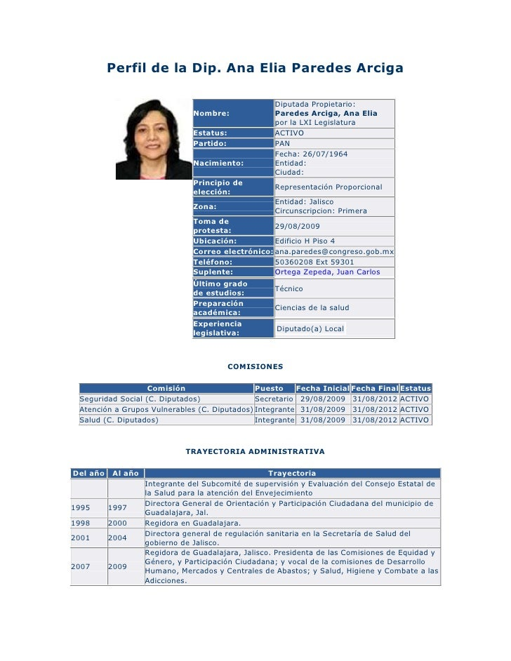 Perfil de la Dip. Ana Elia Paredes Arciga                                                    Diputada Propietario:        ...