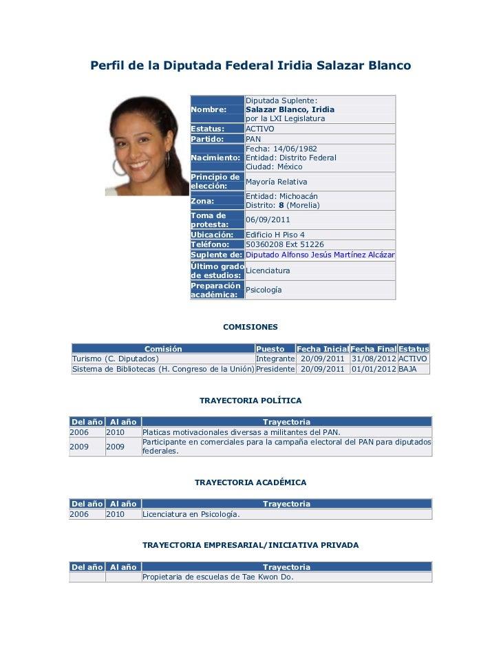 Perfil de la Diputada Federal Iridia Salazar Blanco                                            Diputada Suplente:         ...