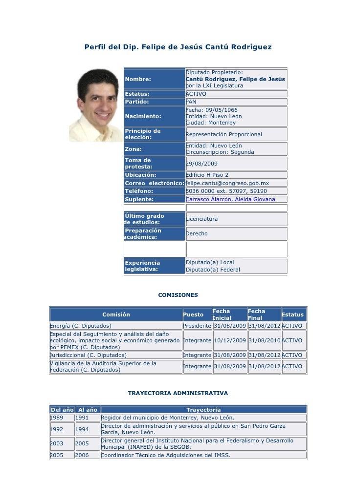 Perfil del Dip. Felipe de Jesús Cantú Rodríguez                                                     Diputado Propietario: ...