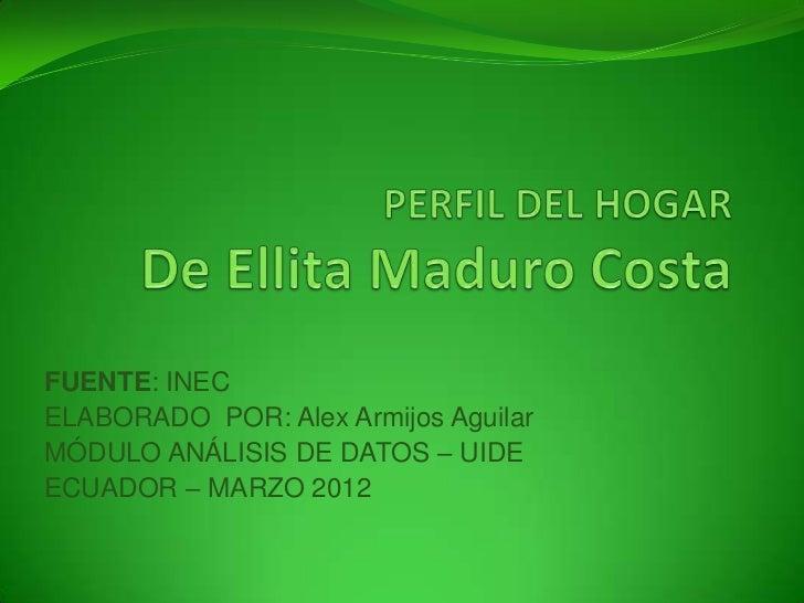 FUENTE: INECELABORADO POR: Alex Armijos AguilarMÓDULO ANÁLISIS DE DATOS – UIDEECUADOR – MARZO 2012