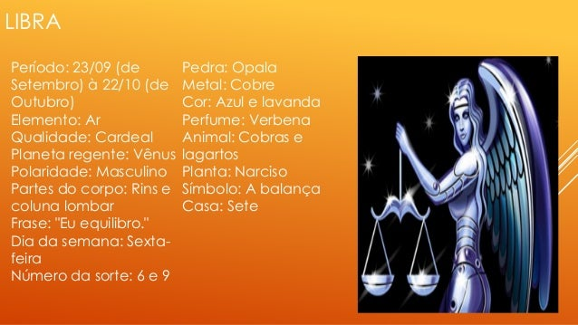 LIBRA Período: 23/09 (de Setembro) à 22/10 (de Outubro) Elemento: Ar Qualidade: Cardeal Planeta regente: Vênus Polaridade:...