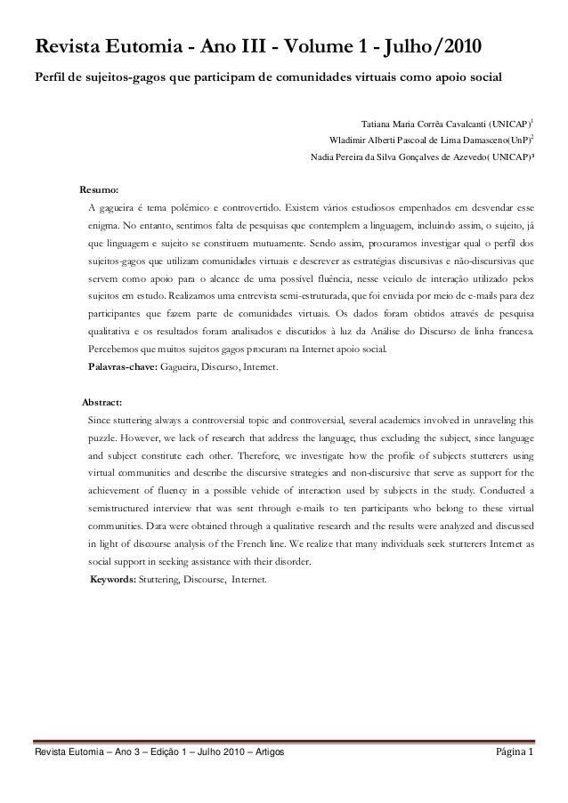 Revista Eutomia – Ano 3 – Edição 1 – Julho 2010 – Artigos Página 1 Revista Eutomia - Ano III - Volume 1 - Julho/2010 Perfi...