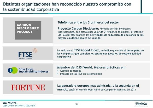 DISCOVER, DISRUPT, DELIVER 18 Distintas organizaciones han reconocido nuestro compromiso con la sostenibilidad corporativa...