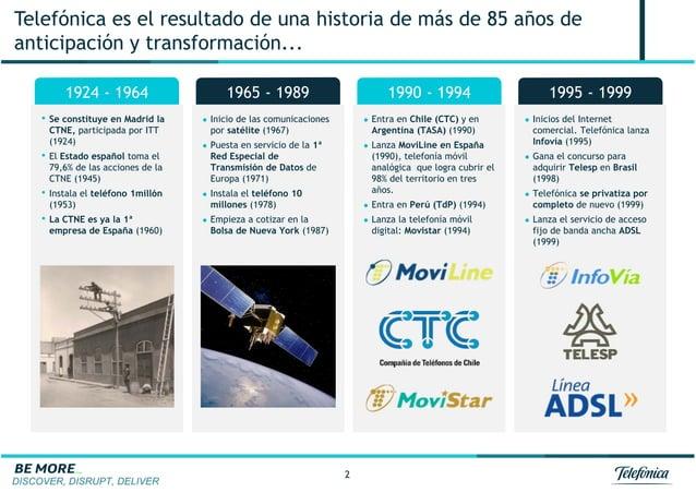 DISCOVER, DISRUPT, DELIVER 2 Telefónica es el resultado de una historia de más de 85 años de anticipación y transformación...