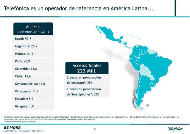 DISCOVER, DISRUPT, DELIVER 5 Telefónica es un operador de referencia en América Latina... Accesos Diciembre 2013 (Mill.) B...