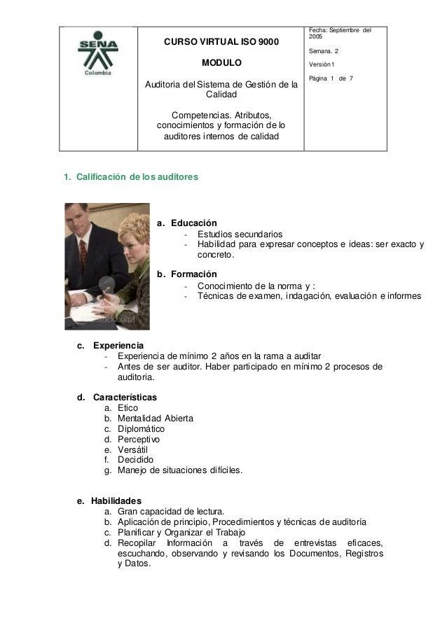 CURSO VIRTUAL ISO 9000 MODULO Auditoria del Sistema de Gestión de la Calidad Competencias. Atributos, conocimientos y form...