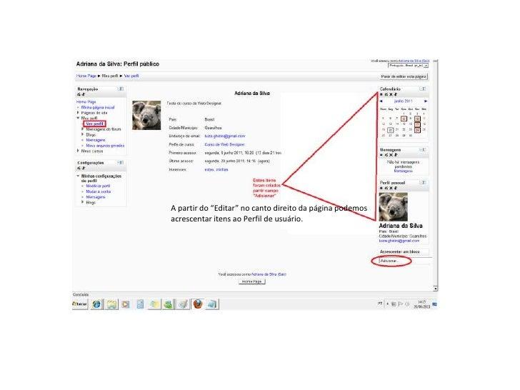 """MOODLEA partir do """"Editar"""" no canto direito da página podemosacrescentar itens ao Perfil de usuário."""