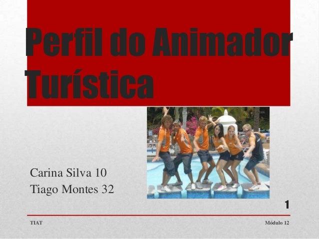 Perfil do Animador Turística Carina Silva 10 Tiago Montes 32 1 TIAT  Módulo 12