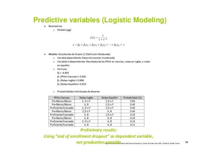 AlgunosAspectosdeInterésdelSistemaEducativoySocialdePuertoRico©Dr.OrvilleM.DisdierFlores Predictive variab...