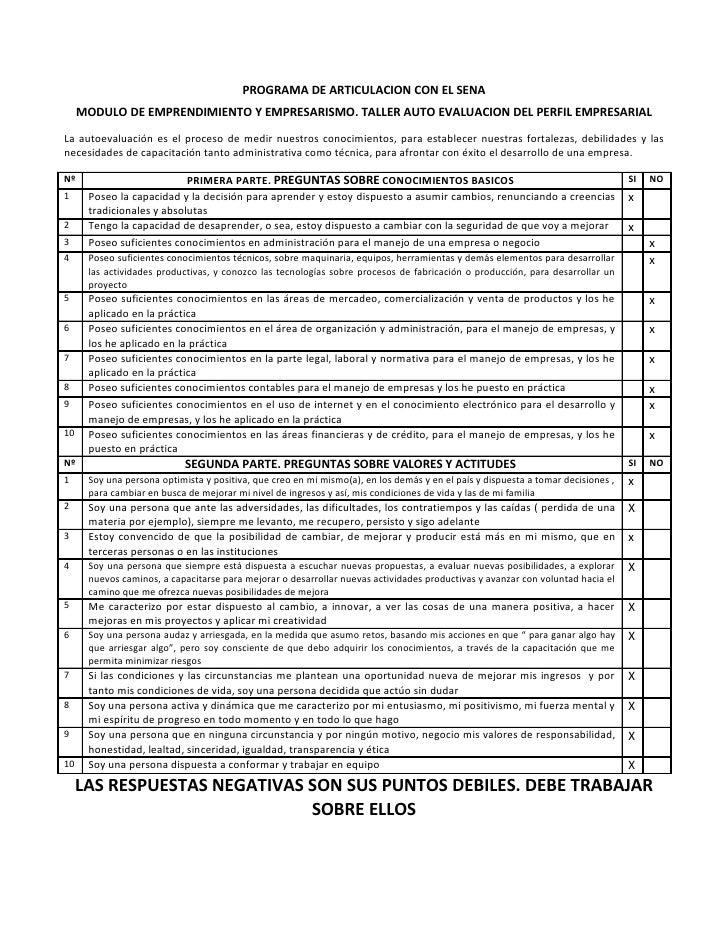 PROGRAMA DE ARTICULACION CON EL SENA      MODULO DE EMPRENDIMIENTO Y EMPRESARISMO. TALLER AUTO EVALUACION DEL PERFIL EMPRE...
