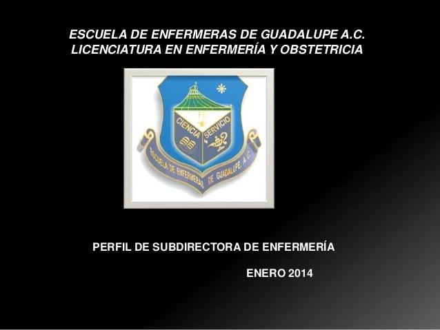 ESCUELA DE ENFERMERAS DE GUADALUPE A.C. LICENCIATURA EN ENFERMERÍA Y OBSTETRICIA  PERFIL DE SUBDIRECTORA DE ENFERMERÍA ENE...