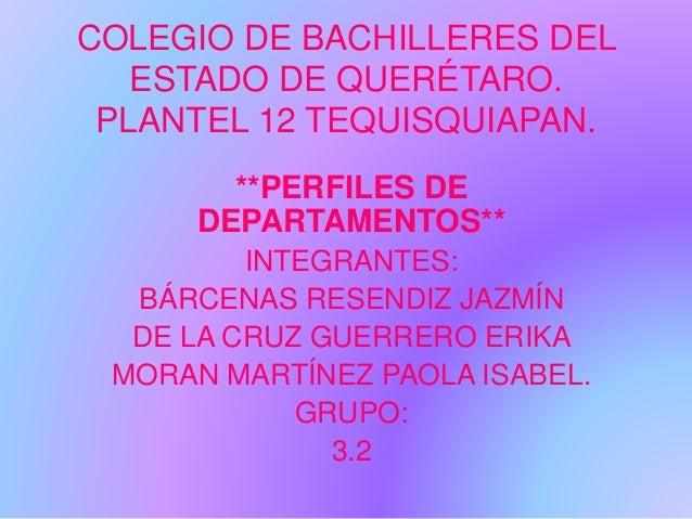 COLEGIO DE BACHILLERES DEL ESTADO DE QUERÉTARO. PLANTEL 12 TEQUISQUIAPAN. **PERFILES DE DEPARTAMENTOS** INTEGRANTES: BÁRCE...