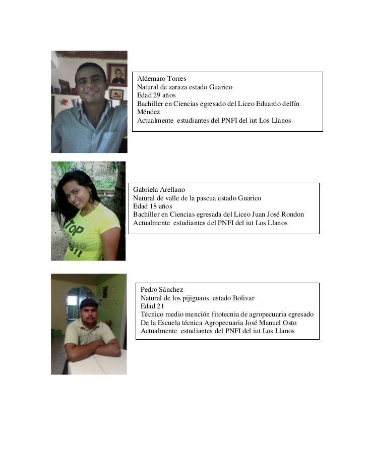Aldemaro Torres Natural de zaraza estado Guarico Edad 29 años Bachiller en Ciencias egresado del Liceo Eduardo delfín Ménd...