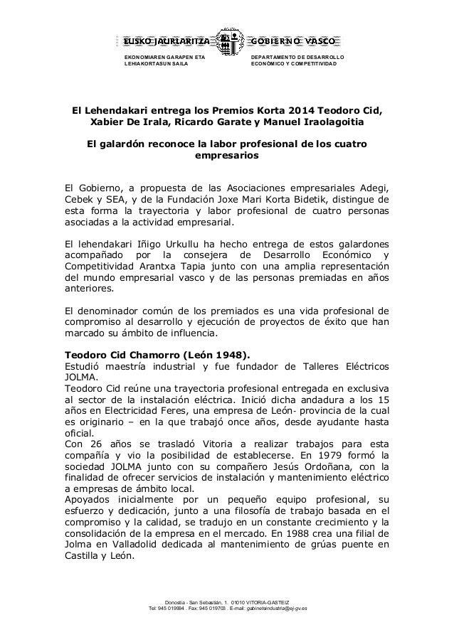 EKONOMIAREN GARAPEN ETA  LEHIAKORTASUN SAILA  DEPARTAMENTO DE DESARROLLO  ECONÓMICO Y COMPETITIVIDAD  El Lehendakari entre...