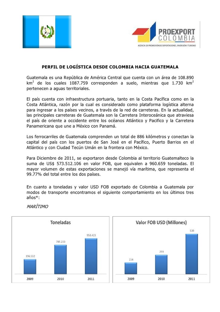 PERFIL DE LOGÍSTICA DESDE COLOMBIA HACIA GUATEMALAGuatemala es una República de América Central que cuenta con un área de ...