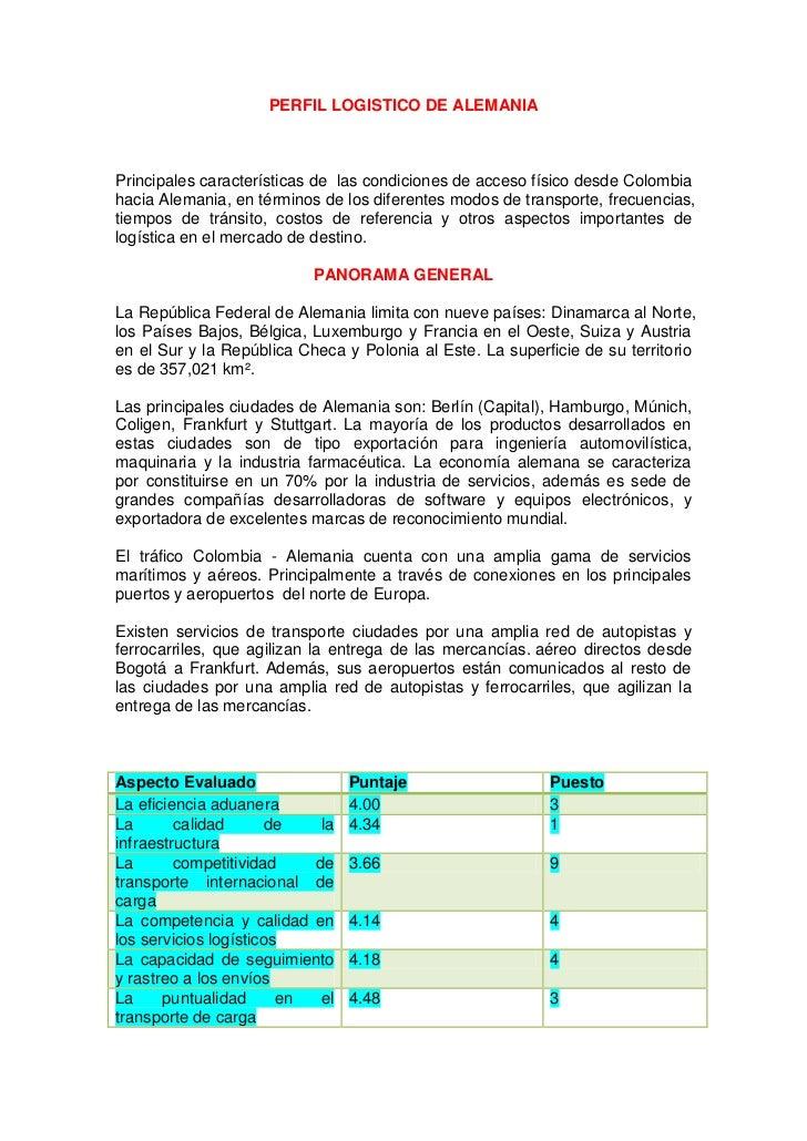 PERFIL LOGISTICO DE ALEMANIA<br />Principales características de las condiciones de acceso físico desde Colombia hacia Al...