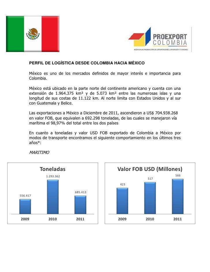 PERFIL DE LOGÍSTICA DESDE COLOMBIA HACIA MÉXICO     México es uno de los mercados definidos de mayor interés e importancia...