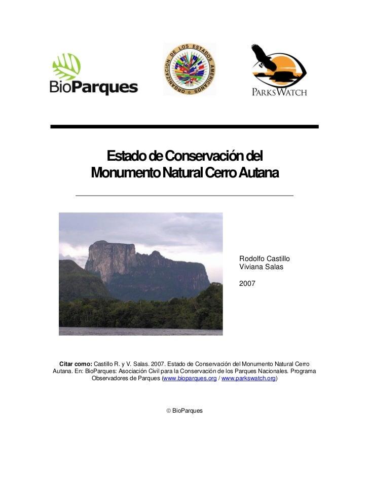 Estado de Conservación del             Monumento Natural Cerro Autana                                                     ...