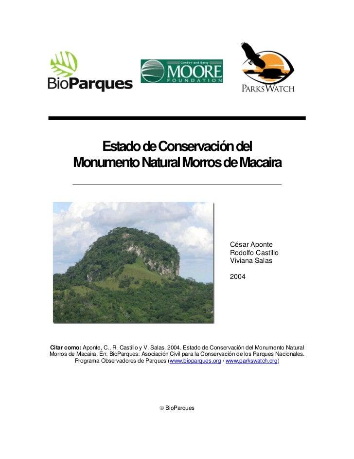 Estado de Conservación del         Monumento Natural Morros de Macaira                                                    ...