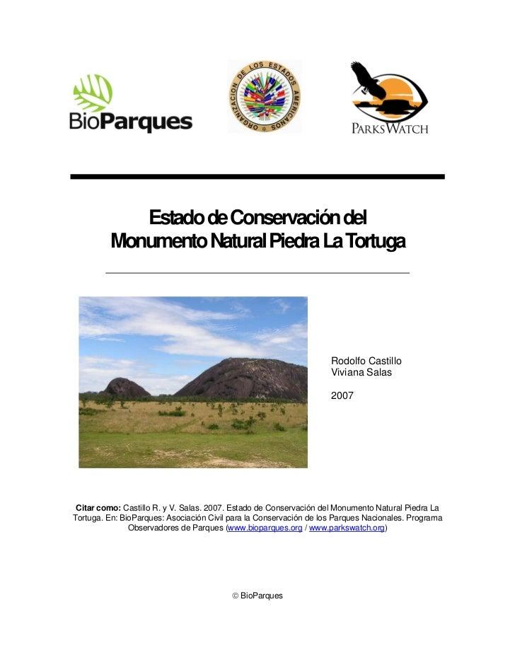 Estado de Conservación del         Monumento Natural Piedra La Tortuga                                                    ...