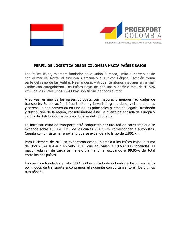 PERFIL DE LOGÍSTICA DESDE COLOMBIA HACIA PAÍSES BAJOSLos Países Bajos, miembro fundador de la Unión Europea, limita al nor...
