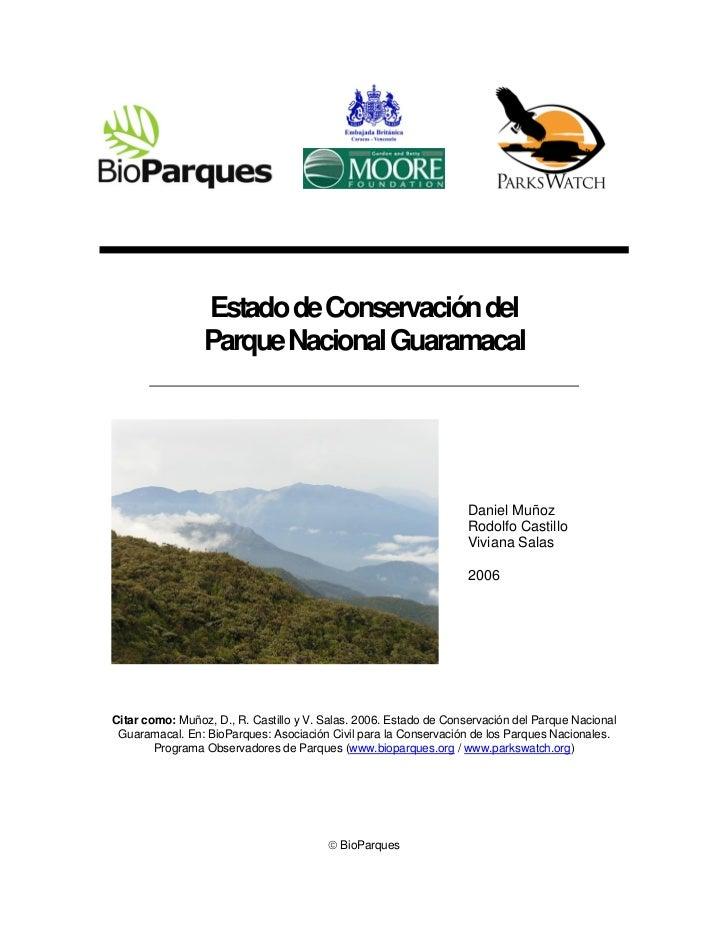 Estado de Conservación del                 Parque Nacional Guaramacal                                                     ...