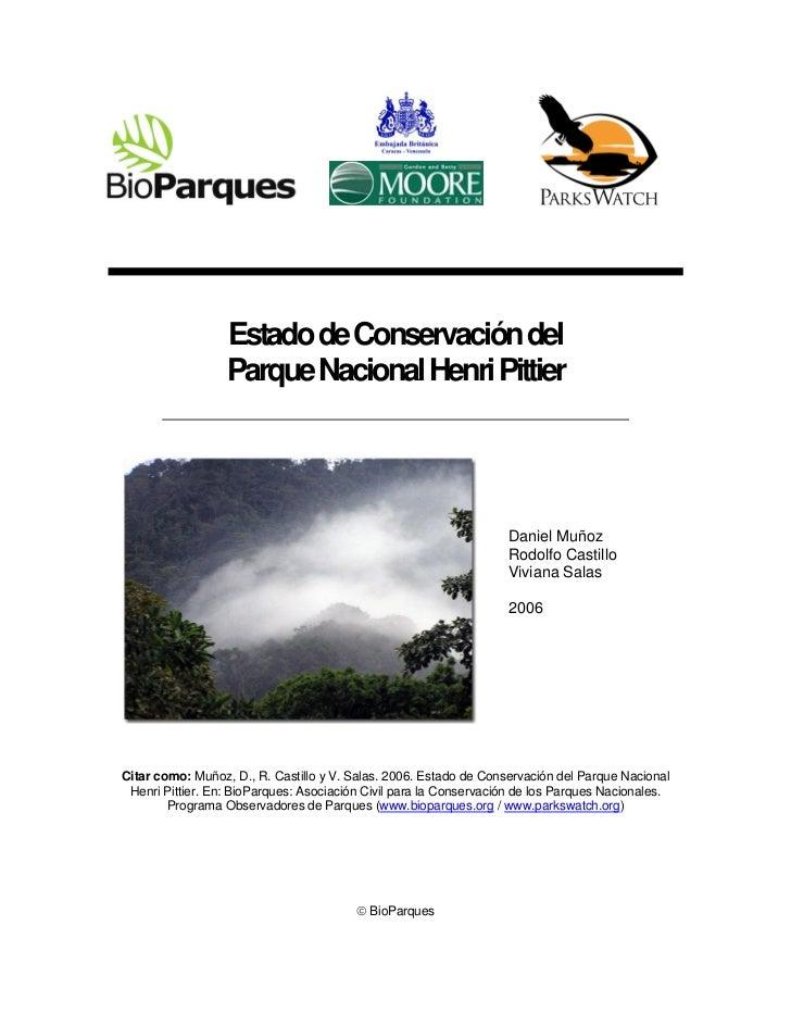 Estado de Conservación del                  Parque Nacional Henri Pittier                                                 ...