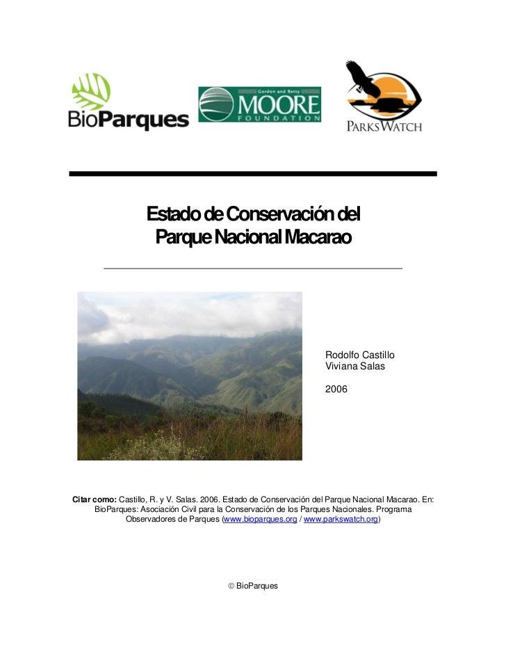 Estado de Conservación del                     Parque Nacional Macarao                                                    ...