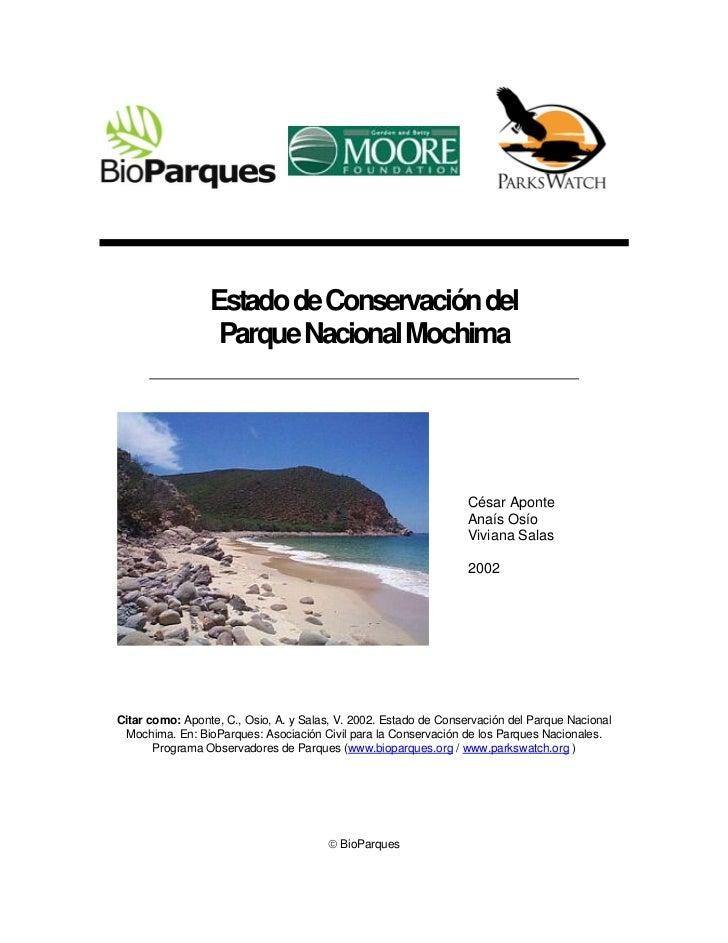 Estado de Conservación del                  Parque Nacional Mochima                                                       ...