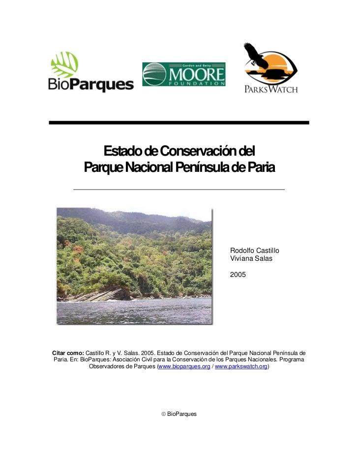Estado de Conservación del           Parque Nacional Península de Paria                                                   ...