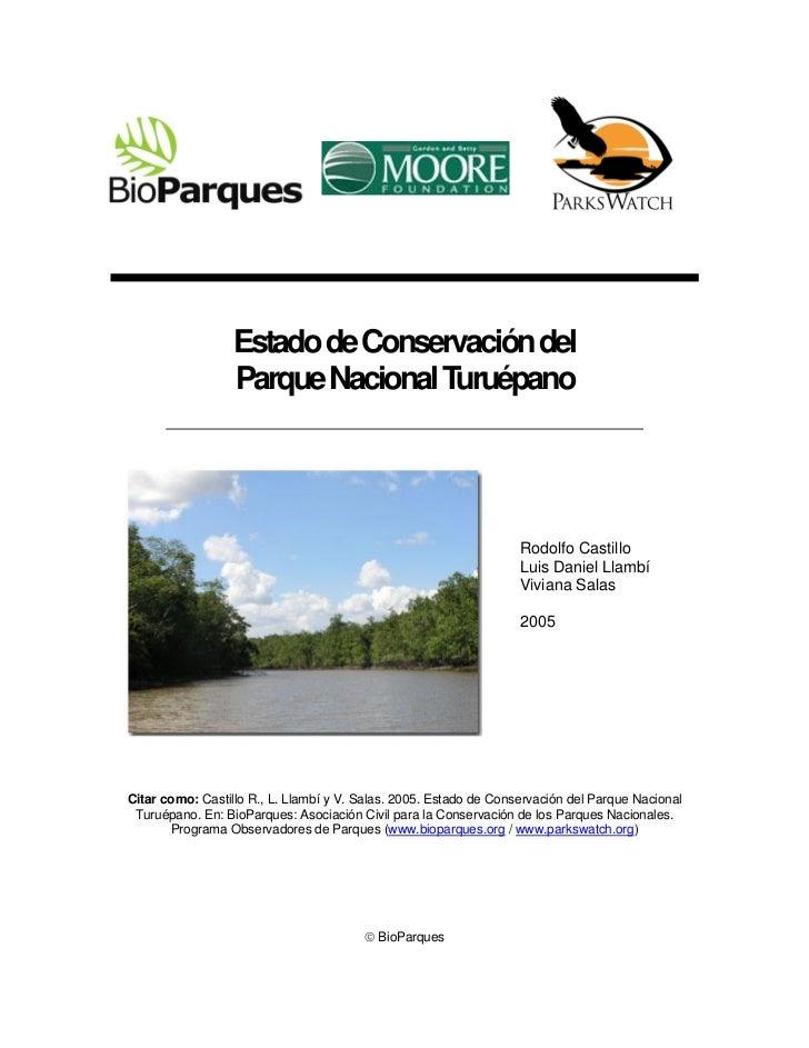Estado de Conservación del                  Parque Nacional Turuépano                                                     ...