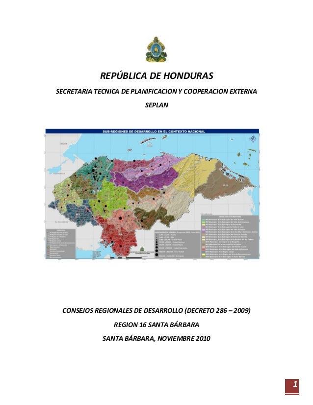 REPÚBLICA DE HONDURASSECRETARIA TECNICA DE PLANIFICACION Y COOPERACION EXTERNA                         SEPLAN CONSEJOS REG...