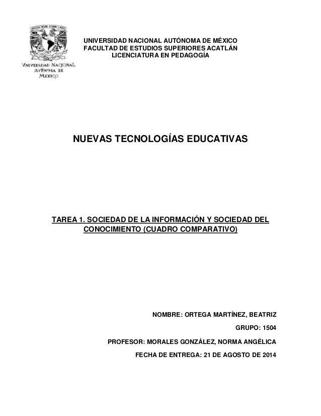 UNIVERSIDAD NACIONAL AUTÓNOMA DE MÉXICO  FACULTAD DE ESTUDIOS SUPERIORES ACATLÁN  LICENCIATURA EN PEDAGOGÍA  NUEVAS TECNOL...