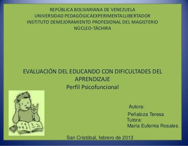REPÚBLICA BOLIVARIANA DE VENEZUELA    UNIVERSIDAD PEDAGÒGICAEXPERIMENTALLIBERTADOR INSTITUTO DEMEJORAMIENTO PROFESIONAL DE...