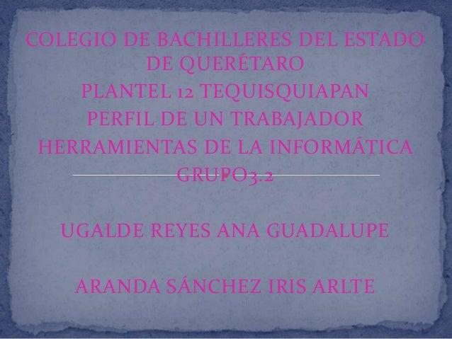 COLEGIO DE BACHILLERES DEL ESTADO DE QUERÉTARO PLANTEL 12 TEQUISQUIAPAN PERFIL DE UN TRABAJADOR HERRAMIENTAS DE LA INFORMÁ...
