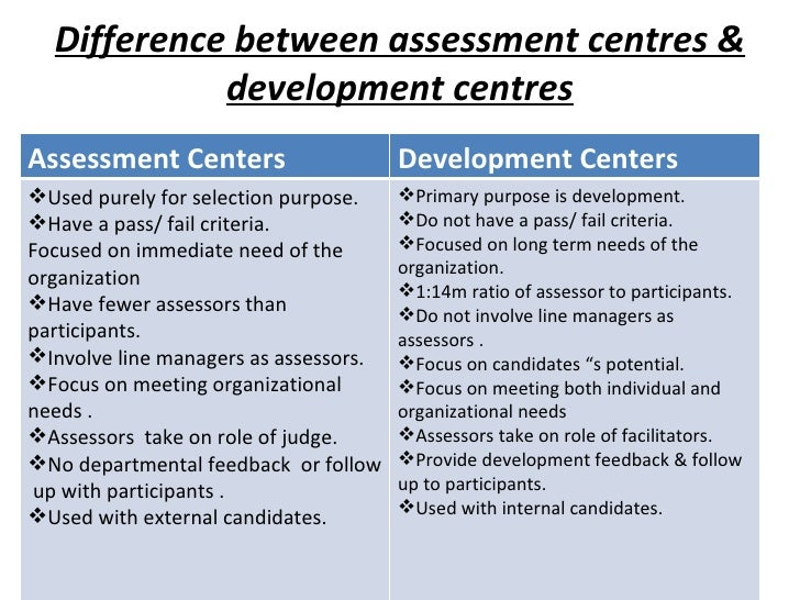 Difference between assessment centres & development centres Assessment Centers Development Centers <ul><li>Used purely for...