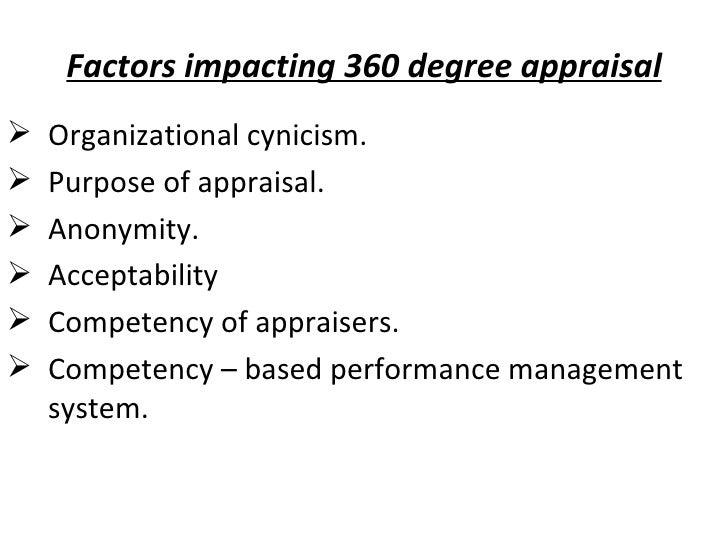 Factors impacting 360 degree appraisal <ul><li>Organizational cynicism. </li></ul><ul><li>Purpose of appraisal. </li></ul>...