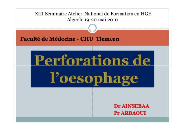 XIII Séminaire Atelier National de Formation en HGE                  Alger le 19-20 mai 2010Faculté de Médecine - CHU Tlem...