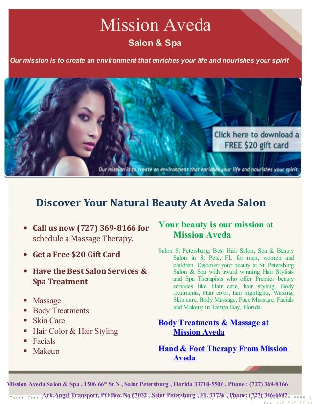Your beauty is our mission at Mission Aveda Salon St Petersburg: Best Hair Salon, Spa & Beauty Salon in St Pete, FL for me...