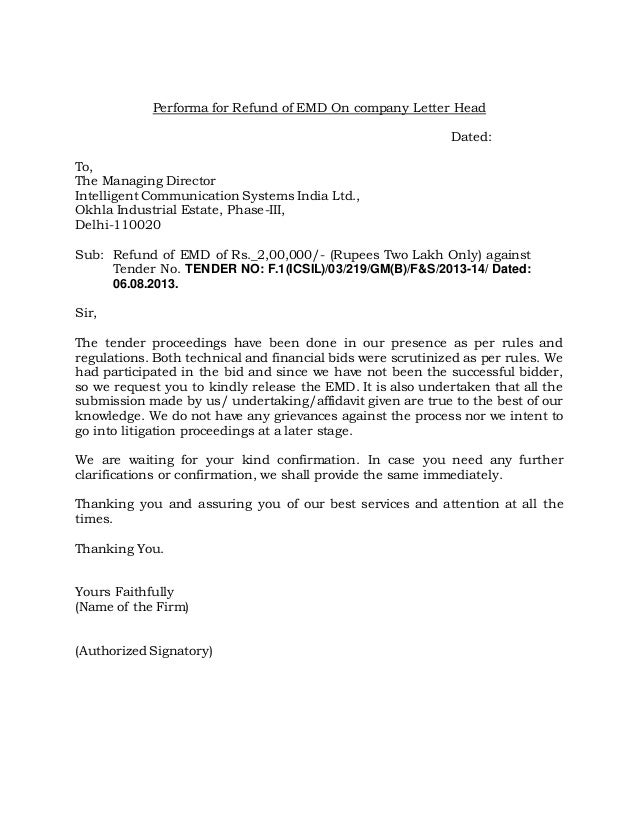 Performa for refund of emd on company letter head1 performa for refund of emd on company letter head dated to the managing director altavistaventures Choice Image