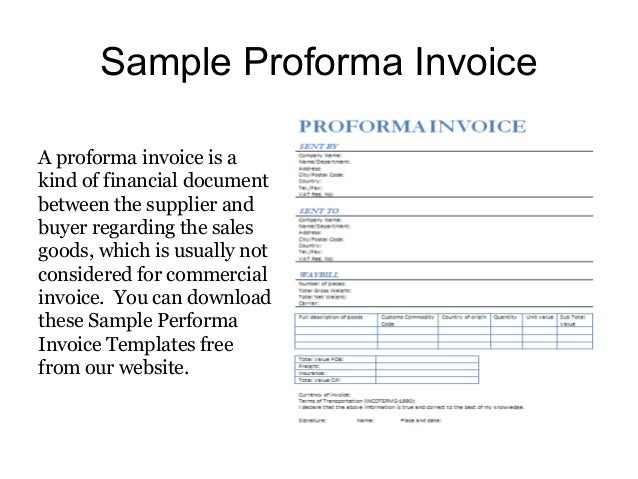 proforma invoice templates - free samples, Invoice templates