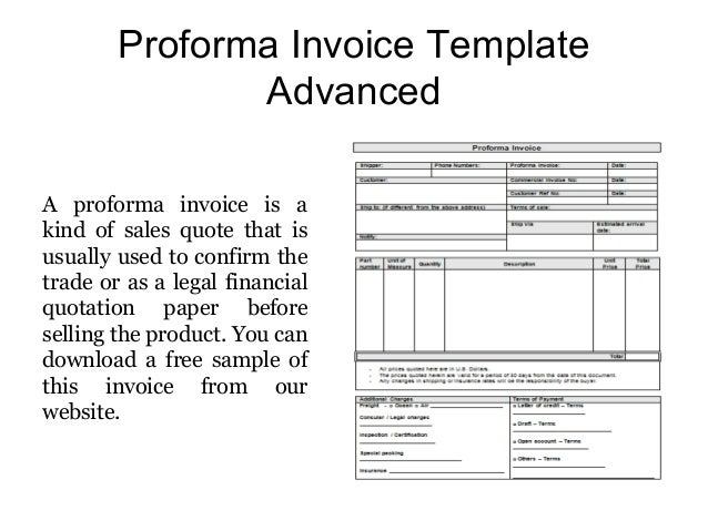 Proforma Invoice Templates Free Samples
