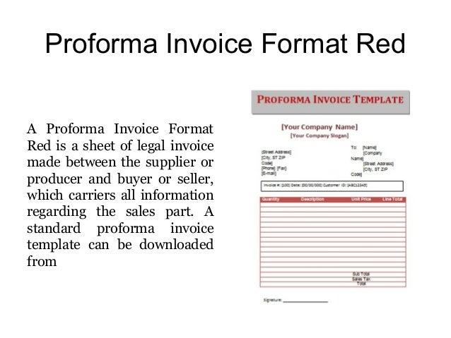 sample proforma invoice format