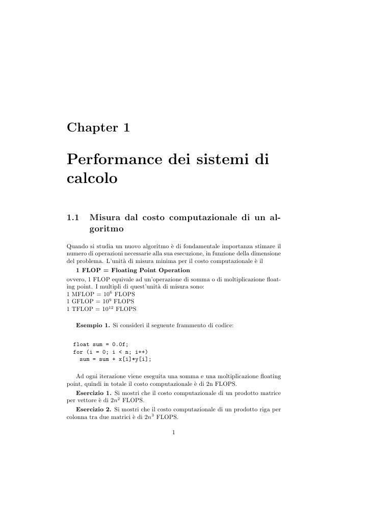 Prodotto Riga Per Colonna.Performance Dei Sistemi Di Calcolo