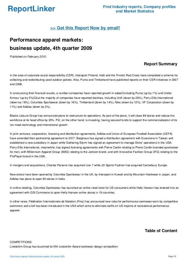 b4c90fc6ab71 Performance apparel markets  business update