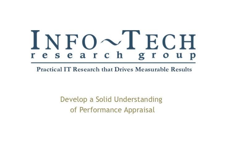 Develop a Solid Understanding  of Performance Appraisal