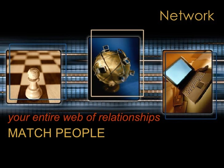 Network your entire web of relationships   MATCH PEOPLE